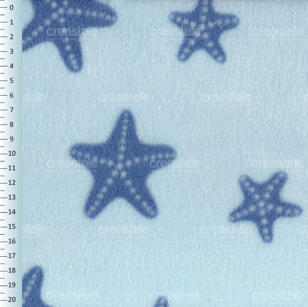 SHELYS FLEECE 240 PRINT SEA 482 CORYDALIS BLUE