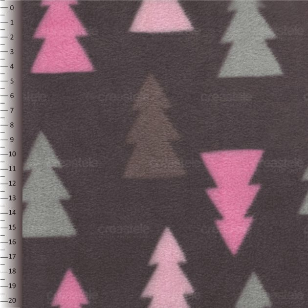 SHELYS FLEECE 240 PRINT TREES 467 BROWN PINK