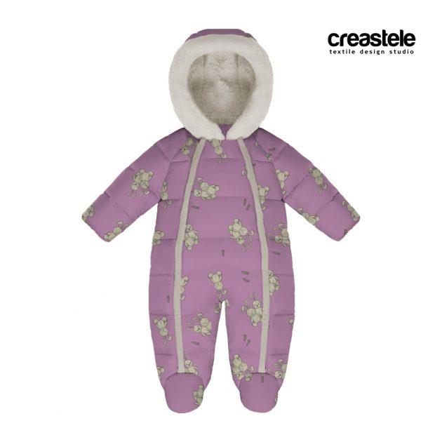 Розовая курточная ткань Дюспо с детским принтом зайцы BANNY 571 PRISM PINK оптом LERTEX