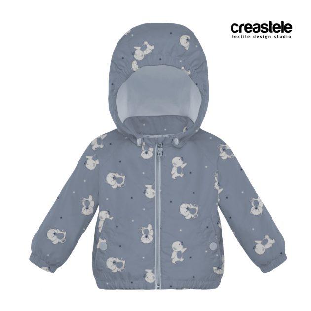 Синяя курточная ткань Дюспо с детским принтом BEARS 582 BLUE FOG оптом LERTEX