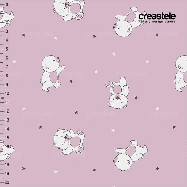 Розовая курточная ткань Дюспо с детским принтом мишки BEARS 582 FAIRY TALE оптом LERTEX