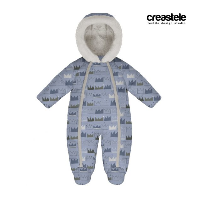 Курточная принтованая ткань дюспа CROWN 605 BLUE
