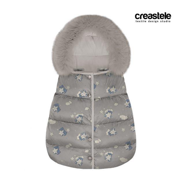Курточная принтованая ткань дюспа с мишками BEARS 530 QUIET GRAY