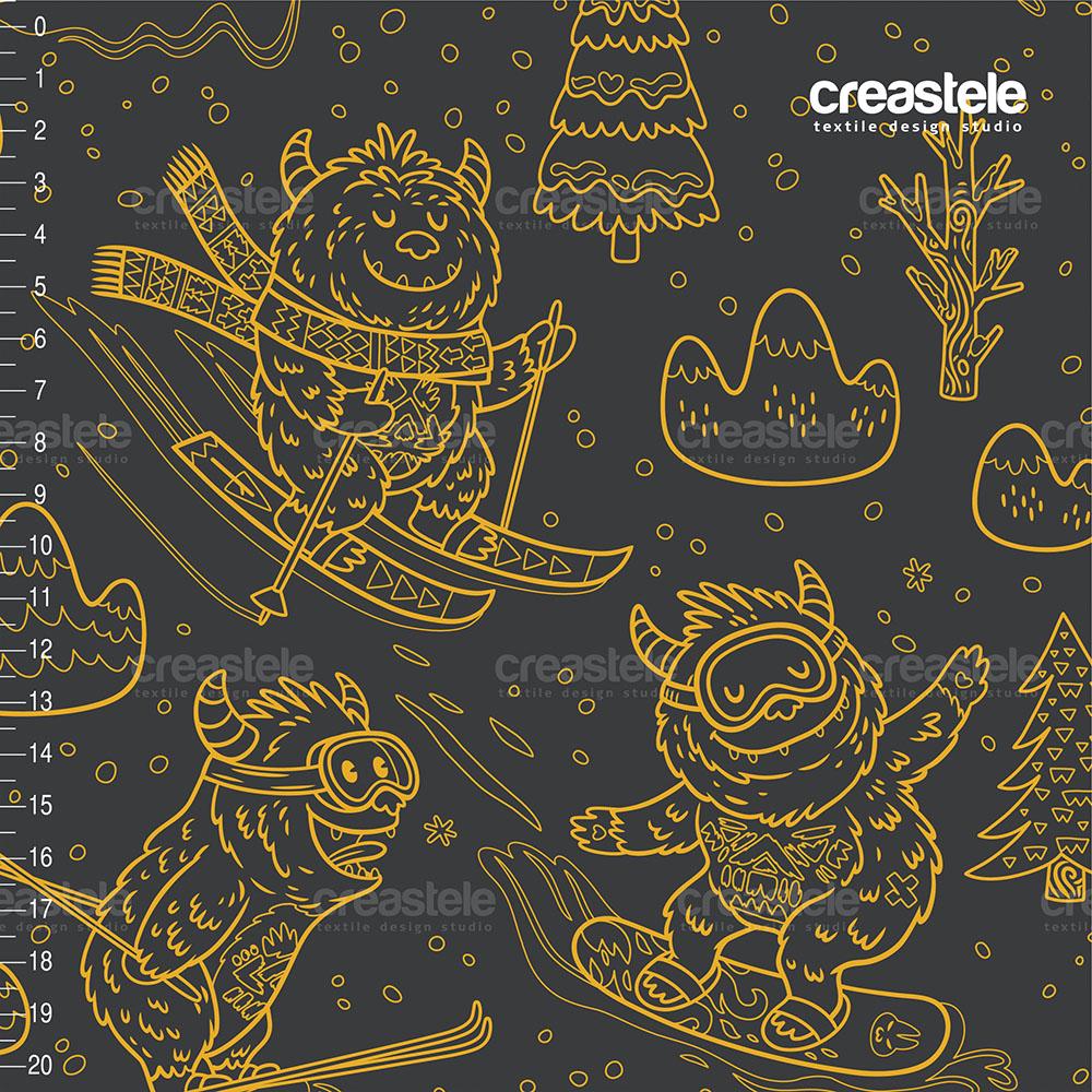 Курточная ткань с мембраной принтованая DOBBY DIGITAL PRINT YETI DARK GRAY/YELLOW