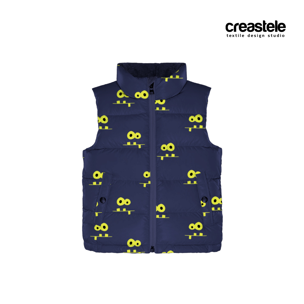 Курточная ткань дюспо с принтом MONSTERS 585 BLUE DEPTH
