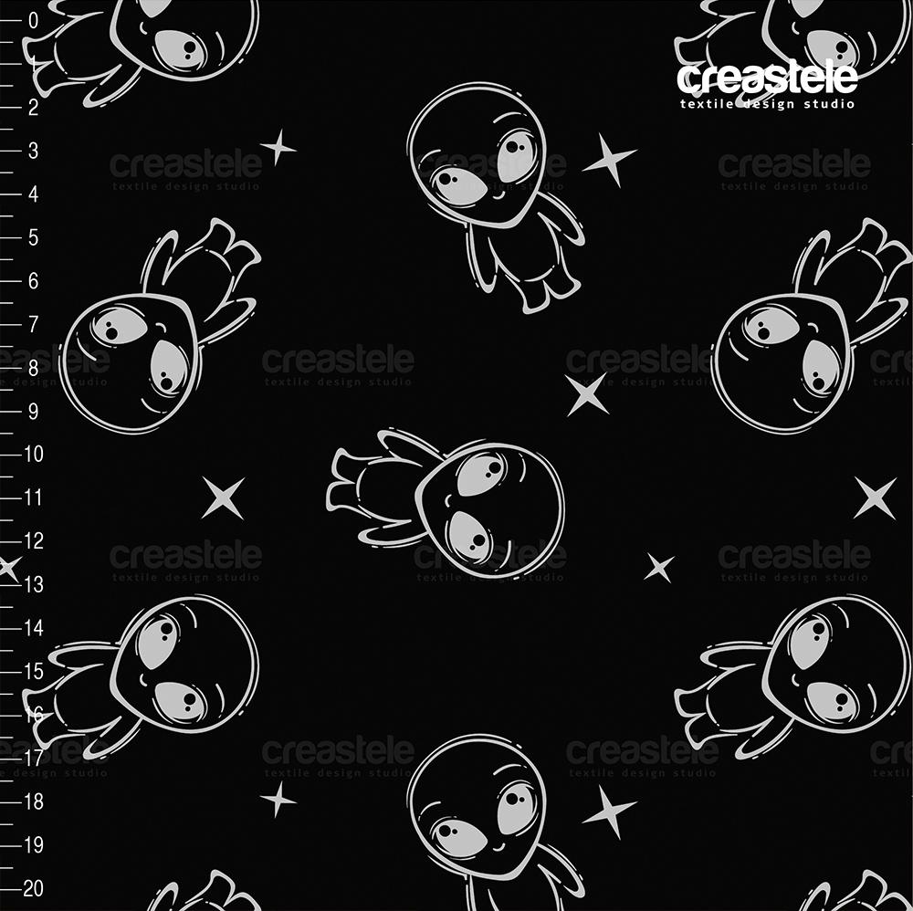 Трикотаж на основе флиса SHELYS FLEECE 220 LASER PRINT BLACK ALIENS 617
